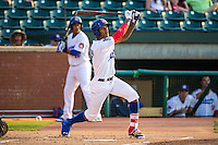 Byron Buxton (7) of the Chattanooga Lookouts bats during a game between the Jackson Generals and Chattanooga Lookouts at AT&T Field on May 8, 2015 in Chattanooga, Tennessee. (Brace Hemmelgarn/Four Seam Images)