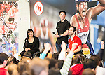 The Canadian Paralympic Committee cross country tour stops to meet students at St. Vincent de Paul school in Calgary, Alberta on Janyary 19, 2016.  Chantal Petitclerc, Stefan Daniel and Chad Jassman entertain questions from the students.