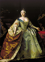 Portrait of Empress Elizabeth of Russia (1709-1762)<br /> Artist: Caravaque, Louis (1684-1754)<br /> Museum: State Russian Museum, St. Petersburg<br /> Method: Oil on canvas<br /> Created: 1750<br /> School: France<br /> Trend in art:Rococo