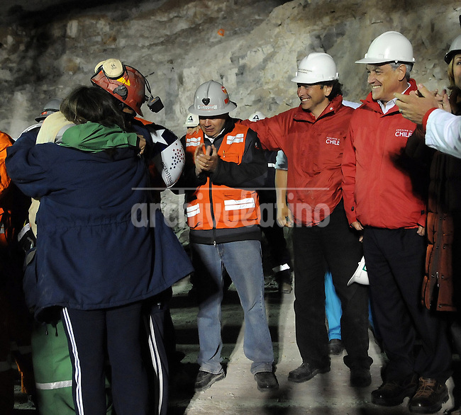 Rescue in San Jose mine, north of Chile, president Sebastian Piñera and frist miners rescued, Florencio Avalos