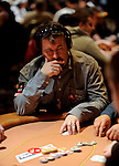 Team Pokerstars.net Pro.Chris Moneymaker moves all in and then sees that he is beat.  He had pockets queens against his opponents Ace, Queen.  His opponent flopped a straight.