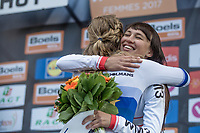 Podium: race winner Anna van der Breggen (NED/Boels Dolmans) getting a hug from 3th place finishing Kasia Niewiadoma (POL)<br /> <br /> La Flèche Wallonne Feminine 2017 (1.WWT)<br /> One Day Race: Huy › Mur de Huy (120km)