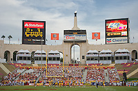 LOS ANGELES, CA - September 22, 2012:  Beginning of the 4th quarter at the USC Trojans vs the Cal Bears at the Los Angeles Memorial Coliseum in Los Angeles, CA. Final score USC 27, Cal 9..