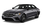 2020 Mercedes Benz E-Class AMG-E53 4 Door Sedan Angular Front stock photos of front three quarter view