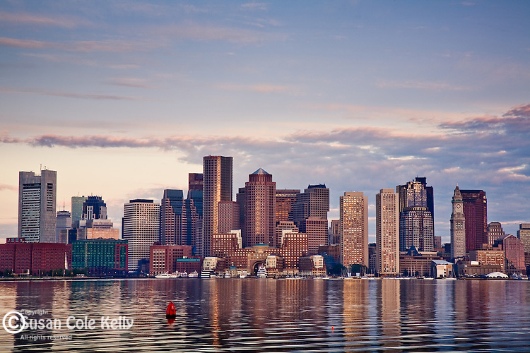 The Boston skyline at sunrise. Boston, MA