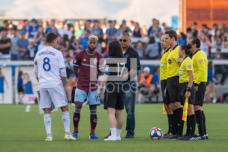 SAN JOSÉ CA - JULY 27: Coin toss before the Major League Soccer (MLS) match between the San Jose Earthquakes and the Colorado Rapids on July 27, 2019 at Avaya Stadium in San José, California.