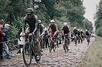 colers coming through the Arenberg Forest / Trouée d'Arenberg / Bois de Wallers<br /> <br /> 118th Paris-Roubaix 2021 (1.UWT)<br /> One day race from Compiègne to Roubaix (FRA) (257.7km)<br /> <br /> ©kramon