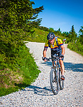 Deutschland, Bayern, Niederbayern, Naturpark Bayerischer Wald: mit dem Mountainbike geht's vom Grossen Arber, mit 1455 m hoechster Berg des Bayerischen Waldes und Niederbayerns, wieder hinunter | Germany, Bavaria, Lower-Bavaria, Nature Park Bavarian Forest: mountainbiking downhill from The Great Arber mountain, with 1455 m highest mountain in the Bavarian Forest, also named 'King of the Bavarian Forest'
