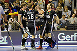 Berlin, Germany, February 10: During the FIH Indoor Hockey World Cup semi-final match between Germany (black) and Iran (white) on February 10, 2018 at Max-Schmeling-Halle in Berlin, Germany. Final score 6-2. (Photo by Dirk Markgraf / www.265-images.com) *** Local caption *** Danny NGUYEN #10 of Germany, Fabian PEHLKE #23 of Germany, Ferdinand WEINKE #18 of Germany, Alexander OTTE #9 of Germany