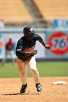 August 9 2008: Everett Williams participates in the Aflac All American baseball game for incoming high school seniors at Dodger Stadium in Los Angeles,CA.  Photo by Larry Goren/Four Seam Images