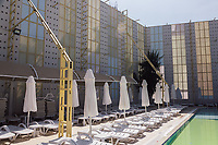 A high wall surrounds the women only section of the swimming pool at the Selge Beach report near Alanya, southern Turkey. The hotel was converted into a halal friendly hotel, and the swimming pool has been divided into two, by this wall, leaving one section for men and one for women.
