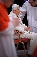 Emeritus Pope Benedict XVI during Appointing Pope Francis new cardinals at the consistory in the St. Peter's Basilica at the Vatican on February 22, 2014.
