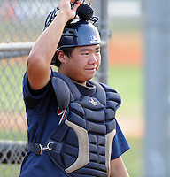 Catcher Meng Tsai (16) of the Danville Braves, Appalachian League affiliate of the Atlanta Braves, prior to a game against the Johnson City Cardinals on August 19, 2011, at Howard Johnson Field in Johnson City, Tennessee. Danville defeated Johnson City, 5-4, in 16 innings. (Tom Priddy/Four Seam Images)