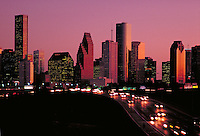 Skyline; city; office buildings; traffic. Houston Texas.