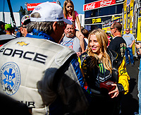 Feb 11, 2018; Pomona, CA, USA; NHRA top fuel driver Brittany Force (right) with father John Force prior to the Winternationals at Auto Club Raceway. Mandatory Credit: Mark J. Rebilas-USA TODAY Sports