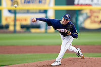Alec Smith (8) of the Oral Roberts Golden Eagles delivers a pitch during a game against the Missouri State Bears on March 27, 2011 at Hammons Field in Springfield, Missouri.  Photo By David Welker/Four Seam Images