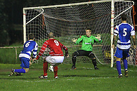 Tom Jeffes of Clapton scores the second goal - Clapton vs Ilford - Essex Senior League Football at the Old Spotted Dog Ground, Upton Park, London - 01/10/13 - MANDATORY CREDIT: Gavin Ellis/TGSPHOTO - Self billing applies where appropriate - 0845 094 6026 - contact@tgsphoto.co.uk - NO UNPAID USE