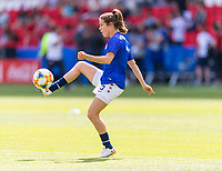 PARIS,  - JUNE 16: Kelley O'Hara #5 warms up during a game between Chile and USWNT at Parc des Princes on June 16, 2019 in Paris, France.