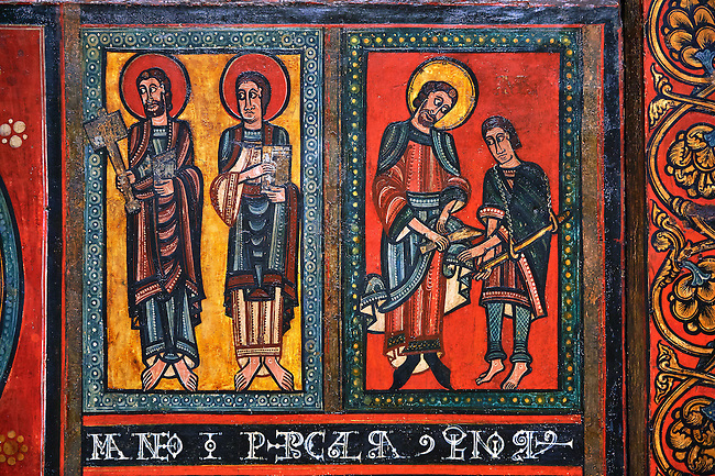 Painted wooden panel of the Altar of d'Ix showing the apostles. From the Church of Sanit Matin d'Ix, La Guinguetta d'Ix, Alta Cerdanya, Spain.  National Art Museum of Catalonia, Barcelona 1958. Ref: MNAC 15802.