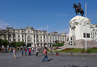 Lima, Peru.  Equestrian Statue of Jose de San Martin, Peruvian National Hero. Plaza San Martin.  The building in the background, in French Renaissance style, consists of private apartments.