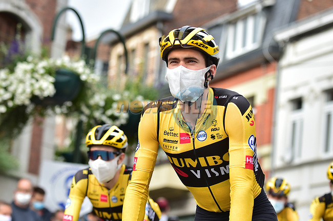 Tom Dumoulin (NED) Team Jumbo-Visma at sign on before La Fleche Wallonne 2020, running 202km from Herve to Mur de Huy, Belgium. 30th September 2020.<br /> Picture: ASO/Gautier Demouveaux | Cyclefile<br /> All photos usage must carry mandatory copyright credit (© Cyclefile | ASO/Gautier Demouveaux)