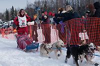 David Sawatzky team leaves the start line during the restart day of Iditarod 2009 in Willow, Alaska