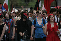 May 22, 2012-  File Photo - Montreal, Quebec, CANADA -   About 120 000 people march in the streets of downtown Montreal to mark the 100th day of the students strike.<br /> <br /> Through all spring and summer 2012 Quebec student took to the street to protest against the tuition hike imposed by the Liberal Government of Jean Charest.