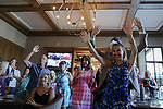 June 20, 2020: Patti Reeves cheers with guests at a Belmont Stakes watch party for her horse, Sole Volante, at a house in Suwanee, Georgia. Tiz The Law won the race. Gabriella Audi/Eclipse Sportswire/CSM