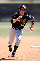 March 15, 2010:  Shortstop Aaron Brill of UMBC vs. Long Island University at Lake Myrtle Park in Auburndale, FL.  Photo By Mike Janes/Four Seam Images