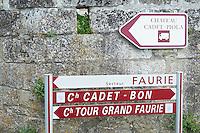street sign  saint emilion bordeaux france