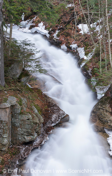 Liberty Gorge Cascades on Cascade Brook in the Flume Gorge area of Franconia Notch State Park in Lincoln, New Hampshire during the spring months. In the 1800s, this cascade was known as Langton's Cascades.