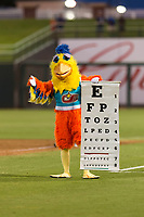 The San Diego Chicken, also known as the Famous Chicken or just The Chicken, questions the home plate umpire's vision while coaching first base during the Fall Stars game at Surprise Stadium on November 3, 2018 in Surprise, Arizona. The AFL West defeated the AFL East 7-6 . (Zachary Lucy/Four Seam Images)