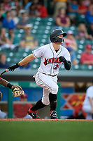 Indianapolis Indians right fielder Austin Meadows (24) follows through on a swing during a game against the Rochester Red Wings on July 24, 2018 at Victory Field in Indianapolis, Indiana.  Rochester defeated Indianapolis 2-0.  (Mike Janes/Four Seam Images)