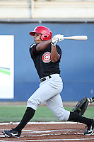 Vancouver Canadians outfielder Jonathan Jones #18 bats against the Yakima Bears at Yakima County Stadium on August 11, 2011 in Yakima,Washington. Yakima defeated Vancouver 3-1.(Larry Goren/Four Seam Images)