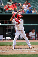 Memphis Redbirds shortstop Wilfredo Tovar (71) at bat during a game against the Iowa Cubs on May 29, 2017 at AutoZone Park in Memphis, Tennessee.  Memphis defeated Iowa 6-5.  (Mike Janes/Four Seam Images)