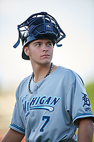 West Michigan Whitecaps catcher Christopher Proctor (7) during a game against the Kane County Cougars on July 19, 2018 at Northwestern Medicine Field in Geneva, Illinois.  Kane County defeated West Michigan 8-5.  (Mike Janes/Four Seam Images)