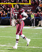 The tenth ranked South Carolina Gamecocks host the 6th ranked Clemson Tigers at Williams-Brice Stadium in Columbia, South Carolina.  USC won 31-17 for their fifth straight win over Clemson.  South Carolina Gamecocks defensive end Jadeveon Clowney (7)
