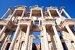 Wide angle view of the facade of the Celsus Library completed in AD 135 in the ancient Turkish city of Ephesus.