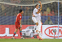 Landon Donovan (left) of USA celebrates scoring the opening goal from the penalty spot with team-mate Michael Bradley (right). Italy defeated USA 3-1 during the FIFA Confederations Cup at Loftus Versfeld Stadium, in Tshwane/Pretoria South Africa on June 15, 2009.