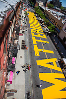 "NEW YORK, NEW YORK - June 14: View of the ""Black Lives Matter"" mural painted on Fulton St in the Bedford - Stuyvesant neighborhood on June 14, 2020 in Brooklyn, NY. Protesters continue Nationwide after the death of George Floyd. (Photo by Pablo Monsalve/VIEWpress via Getty Images)"