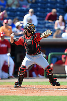 Tampa Spartans catcher Keaton Aldridge (23) warmup throw down to second during an exhibition game against the Philadelphia Phillies on March 1, 2015 at Bright House Field in Clearwater, Florida.  Tampa defeated Philadelphia 6-2.  (Mike Janes/Four Seam Images)