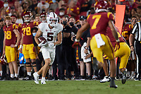 LOS ANGELES, CA - SEPTEMBER 11: John Humphreys #5 of the Stanford Cardinal runs with the ball after a pass reception during a game between University of Southern California and Stanford Football at Los Angeles Memorial Coliseum on September 11, 2021 in Los Angeles, California.