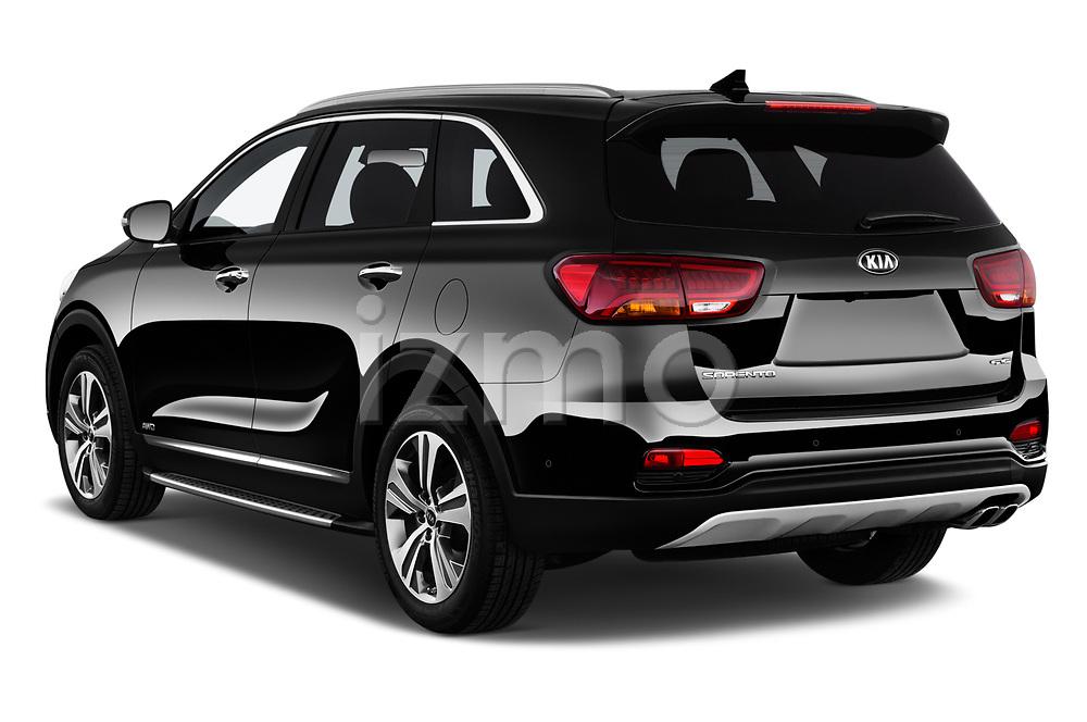 Car pictures of rear three quarter view of a 2018 KIA Sorento GT Line 5 Door SUV angular rear