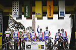 Groupama-FDJ at sign on before the start of Stage 1 of the 2021 Tour de France, running 197.8km from Brest to Landerneau, France. 26th June 2021.  <br /> Picture: A.S.O./Pauline Ballet | Cyclefile<br /> <br /> All photos usage must carry mandatory copyright credit (© Cyclefile | A.S.O./Pauline Ballet)