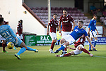 Arbroath v St Johnstone…21.07.21  Gayfield Park<br />David Wotherspoon scores for sai nts to make it 1-0<br />Picture by Graeme Hart.<br />Copyright Perthshire Picture Agency<br />Tel: 01738 623350  Mobile: 07990 594431