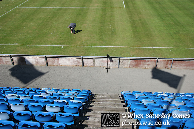 Faroe Islands 0 Scotland 2, 06/06/2007. European Championship Qualifier. The groundsman makes final checks to the pitch before the Euro 2008 group B qualifying match at the Svangaskard stadium in Toftir between the Faroe Islands and Scotland. The visitors won the match by 2 goals to nil to stay in contention for a place at the European football championships which were to be held in Switzerland and Austria in the Summer of 2008. It was the first time Scotland had won in the Faroes, the previous two matches ended in draws. Photo by Colin McPherson.