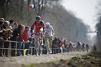 111th Paris-Roubaix 2013..Taylor Phinney (USA) in sector #18: Trouée d'Arenberg.