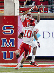 Southern Methodist Mustangs wide receiver Keenan Holman (81) and Houston Cougars defensive back Zachary McMillian (10) in action during the game between the University of Houston Cougars and the Southern Methodist Mustangs at the Gerald J. Ford Stadium in Dallas, Texas. SMU defeats Houston 72 to 42...