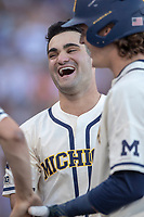 Michigan Wolverines pitcher Joe Pace (32) before Game 1 of the NCAA College World Series Finals on June 24, 2019 at TD Ameritrade Park in Omaha, Nebraska. Michigan defeated Vanderbilt 7-4. (Andrew Woolley/Four Seam Images)