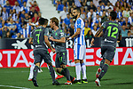Real Sociedad's Juan Miguel Jimenez (l), David Zurutuza (c) and Willian Jose Da Silva (r) celebrate goal during La Liga match. August 24, 2018. (ALTERPHOTOS/A. Perez Meca)